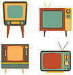 Retro Tv Items Set On White Background, Vector Illustration