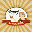Retro Wife Illustration With Bon Appetit Message, Vector Format