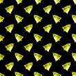Retro Yellow School Bell Seamless Pattern On Black Background