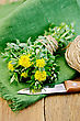 Rhodiola Rosea Flowers Tied With Twine, Ball Of Twine, Knife On Green Napkin On A Wooden Board