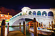 Rialtobridge Rialto Bridge (Ponte Di Rialto) In Venice, Italy At Night Time stock photography
