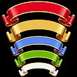 Ribbon set with adjusting length. Vector red, golden, blue, green and white frame isolated on background.