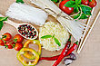 Rice Noodles Are Different, Tomatoes, Peppers, Chopsticks, Garlic, Basil On A Background Of Sack Cloth Top