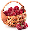 Ripe Raspberries In Basket Isolated On White Background Cutout stock image