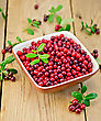 Ripe Red Lingonberries In A Bowl With A Sprig Of Berries And Leaves On The Background Of Wooden Boards stock photography