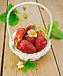 Ripe Red Strawberries With Leaves And Flowers In A White Wicker Basket On Background Wooden Plank stock photo