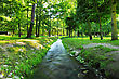 River In Summer Park. Nature Composition stock photo