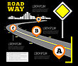 Road Way Design Infographics. Vector Illustration On Black