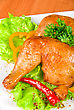 Roasted Chicken Ham Garnished With Fresh Green Salad, Pepper And Greens stock image