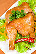 Roasted Chicken Ham Garnished With Fresh Green Salad, Pepper And Greens