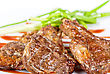 Roasted Lamb Meat Tied With Scallion Closeup