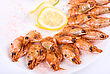 Roasted Shrimps With Lemon Closeup Isolated stock photo