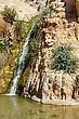 Rocks, Streams And Waterfalls, Water And Life In The Arid Desert - Ein Gedi Nature Reserve Off The Coast Of The Dead Sea stock photo