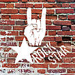 Rockstar Symbol With Sign Of The Horns Gesture. Vector Template With Brick Wall Texture