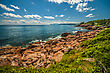 Rocky Cliffs Of The Cabot Trail Nova Scotia Canada stock illustration
