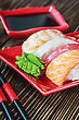 Menu Rolls And Sushi And Chopstick stock image