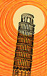 Romantic Background Illustration With Stylized Tuscany Leaning Tower Of Pisa In The Sun stock illustration