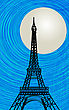 Romantic Background With Stylized Eiffel Tower Silhouette In The Moonlight