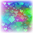 Romantic Colorful Hearts Background. Blurred Heart Pattern