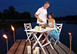 Romantic Dinner Outdoors On The Dock stock photo