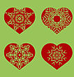 Romantic Red Heart Set Isolated On Green Background. Image Suitable For Laser Cutting. Symbol Of Valentines Day