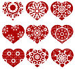 Romantic Red Heart Set Isolated On White Background. Image Suitable For Laser Cutting. Symbol Of Valentines Day