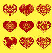 Romantic Red Heart Set Isolated On Yellow Background. Image Suitable For Laser Cutting. Symbol Of Valentines Day