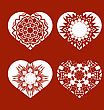 Romantic White Heart Set Isolated On Red Background. Image Suitable For Laser Cutting. Symbol Of Valentines Day