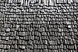 Dwelling Roof Covered With Tiles Out Of Wooden Of The Middle Ages stock photo