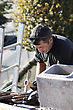 Roofer Hard At Work stock image