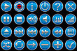 Round Blue Control Panel Icons Or Buttons Isolated On Black
