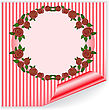 Round Frame Of Red Roses On The Striped Sticker With Curved Corner