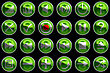 Round Green Control Panel Icons Or Buttons Isolated On Black