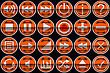 Round Orange Control Panel Icons Or Buttons Isolated On Black