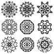 Round Ornamental Geometric Pattern. Silhouettes Of Snow Flakes