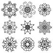 Round Ornamental Geometric Pattern. Silhouettes Of Snowflakes