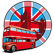 Round Vignette With Image Of Double Decker Bus On Background English Symbolism