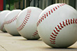 Row of Baseballs stock image
