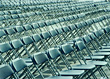 Rows Of Empty Folding Chairs stock photo