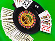 Royal Flesh- Playing Cards On Green Broadcloth (background stock photo