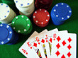 Royal Flush Poker Hand & Gambling Chips stock photography
