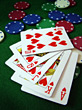 Royal Flush With Hearts stock photo