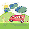 Running Bus On The Mountain Road In Animated Cartoon Childish Style stock illustration