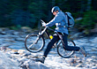 Running with Moutain Bike stock photo