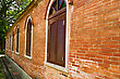 Rural Round Arch Window In A Brick Wall Building,Taipei,Taiwan stock photo