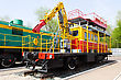 Russian Rail Road Locomotive In Samara stock photo