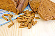 Rye Homemade Bread, Crackers, Blue Cloth On A Background Of Wooden Boards stock image