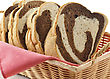Weave Rye Swirl Bread In A Basket , Close Up stock photography