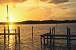 beaches dawn sunsets pier sunrise dock stock photo