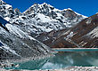 Sacred Lake And Mountain Peaks Near Gokyo In Himalayas. Captured In Nepal stock photo